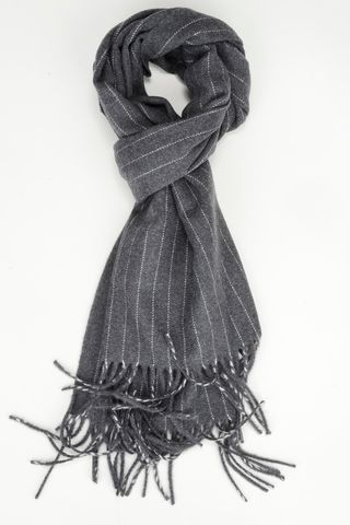 charcoal pinstripe scarf with fringes Angelico
