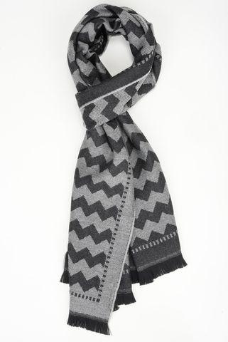 Sciarpa grigia con greche nere lana Angelico