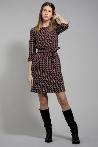 burgundy sheath dress with chain pattern Angelico
