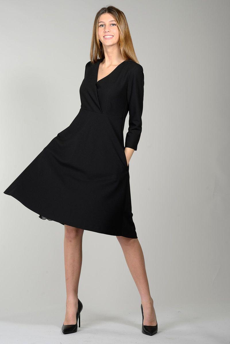 vestito nero svasato corpetto incrociato Angelico