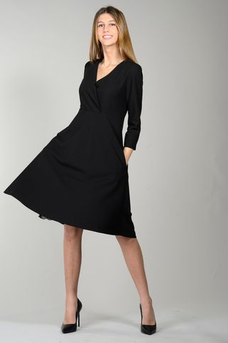 black flared dress with crossed bodice Angelico