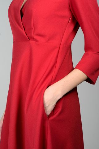 red flared dress with crossed bodice Angelico