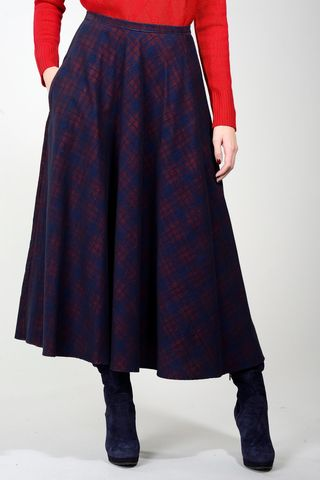 blue-red checkered full skirt midi Angelico