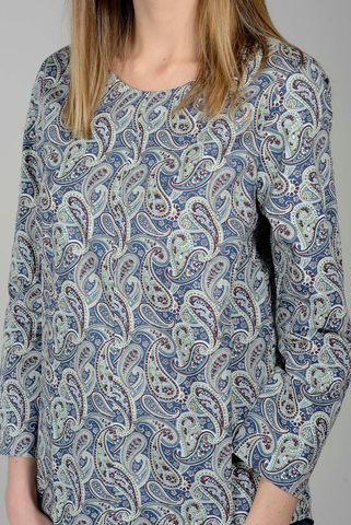 camicia blu fantasia cashmere campana Angelico