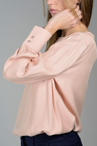 powder pink viscose shirt jewels bottons cuffs Angelico