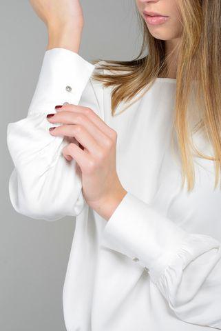 blusa panna viscosa bottoni gioiello polsini Angelico