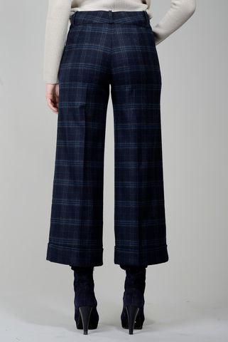 Pantalone blu scozzese cropped Angelico