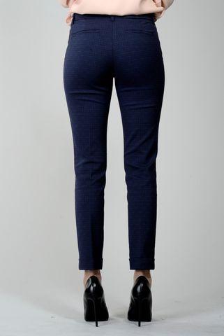 Pantalone blu fantasia nera con risvolto Angelico