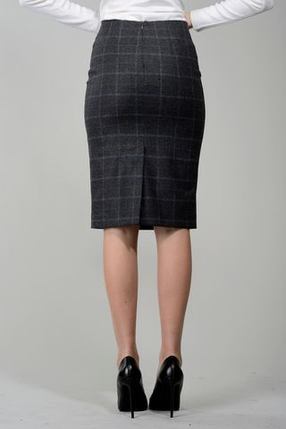 gray pencil skirt checkered. Angelico