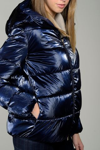 shiny bluette hooded down jacket Angelico