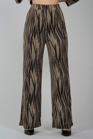 wide gold-black trousers with lurex pattern Angelico