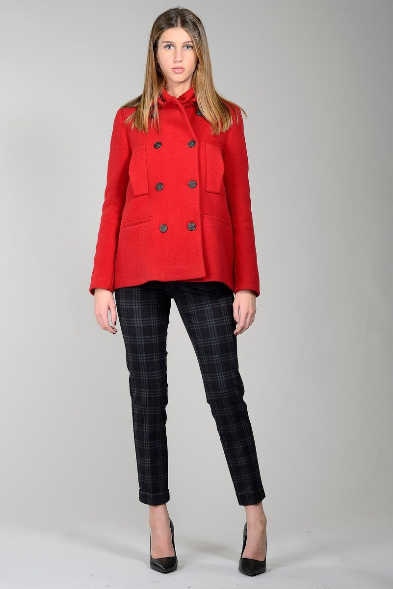 red short peacoat double-breasted Angelico