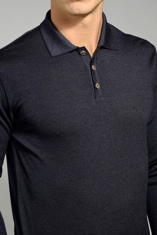 black merino polo sweater garment-dyed Angelico