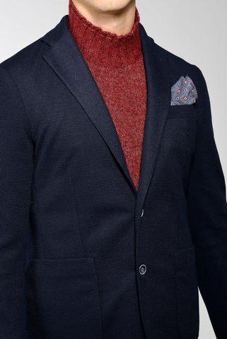 navy stretch blazer jacket slim Angelico