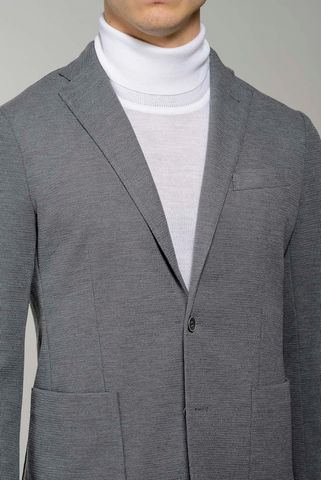 grey stretch blazer jacket slim Angelico