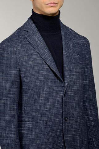 blue jacket with flamed check pattern slim Angelico