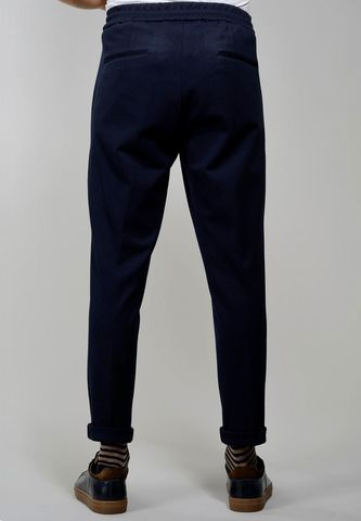 pantalone blu pince e coulisse slim Angelico