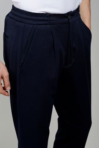 navy trousers  drawstring slim Angelico