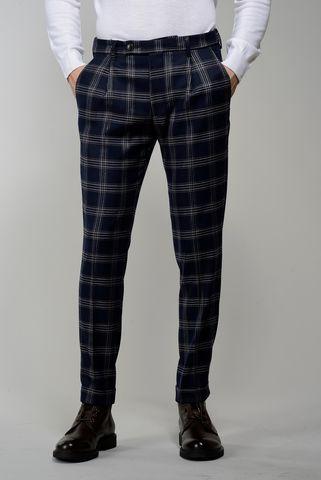 pantalone blu galles pince e risvolto slim Angelico