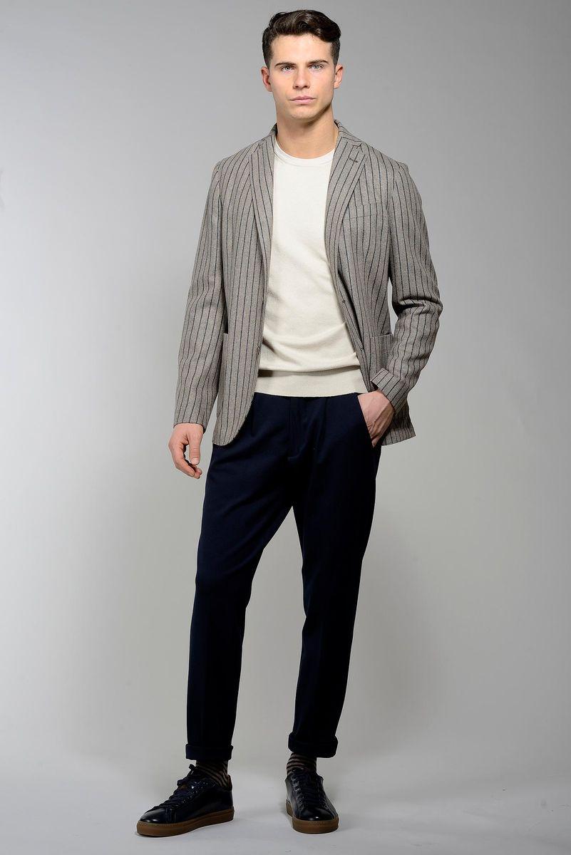 giacca naturale gessata cotone-lana slim Angelico