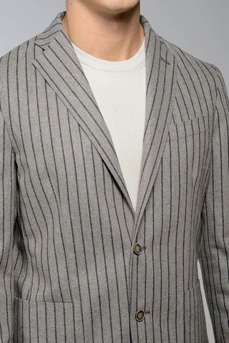 natural pinstriped jacket cotton-wool slim Angelico