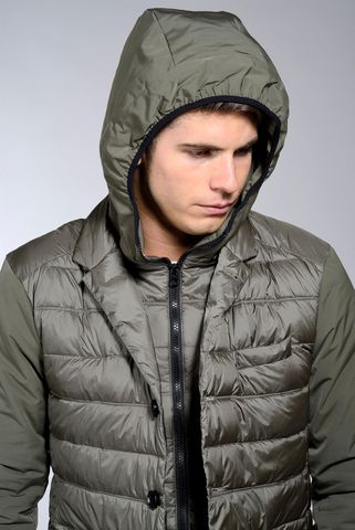 green eco-down jacket with hooded bib Angelico