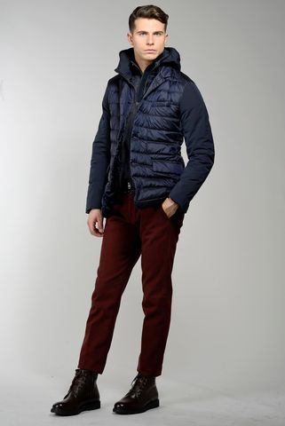 navy eco-down jacket with hooded bib Angelico