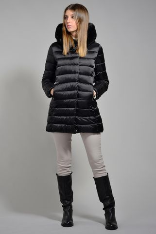 medium black eco-down jacket with fur hood Angelico