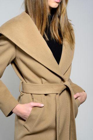 cappotto cammello cintura e cappuccio lana-cashmere Angelico
