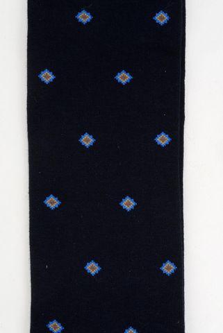 blue socks blue rhombus pattern warm cotton Angelico