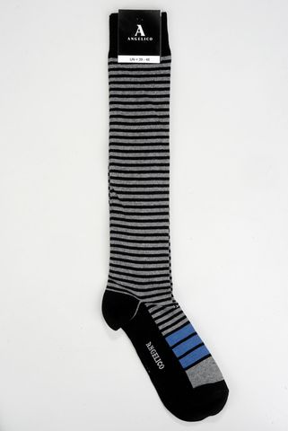 Black-gray socks fine stripes warm cotton Angelico