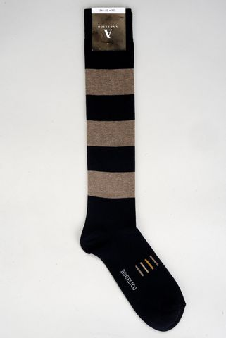 Blue-beige socks wide stripes warm cotton Angelico