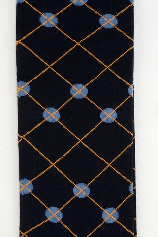 blue socks yellow rhombus warm cotton Angelico