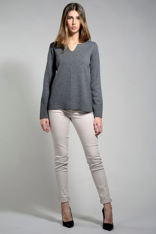 gray pullover with small v-neck Angelico