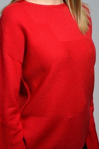 red merino boat sweater Angelico
