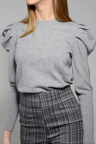 gray wool-cashmere sweater puff sleeves marella Angelico