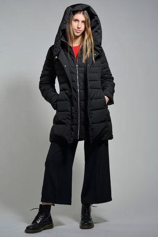 giaccone nero eco-piuma cappuccio marella Angelico
