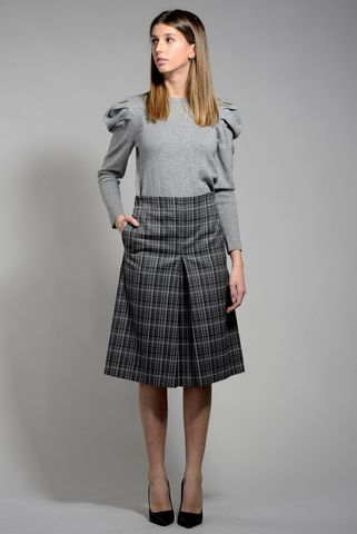 gray plaid skirt with pleat emme Angelico