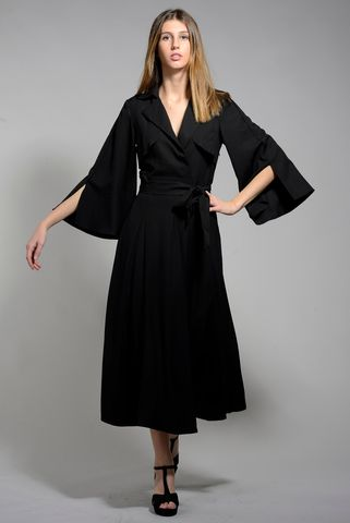 long black flared dress Angelico