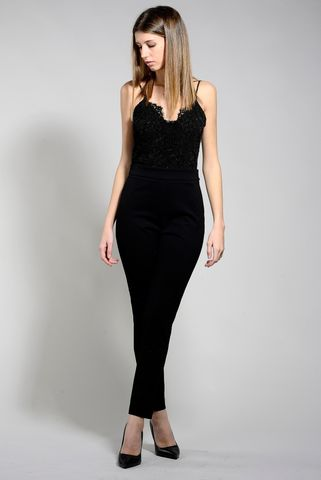 black jumpsuit with lace bodice twinset Angelico