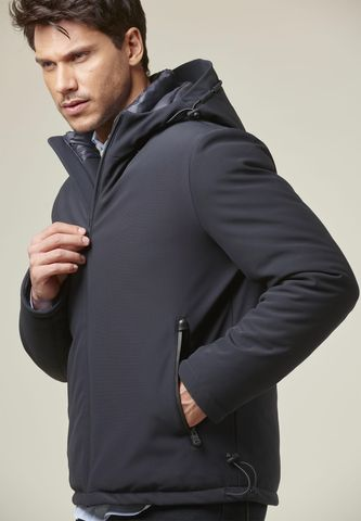 navy short hooded eavy jacket eco-down Angelico