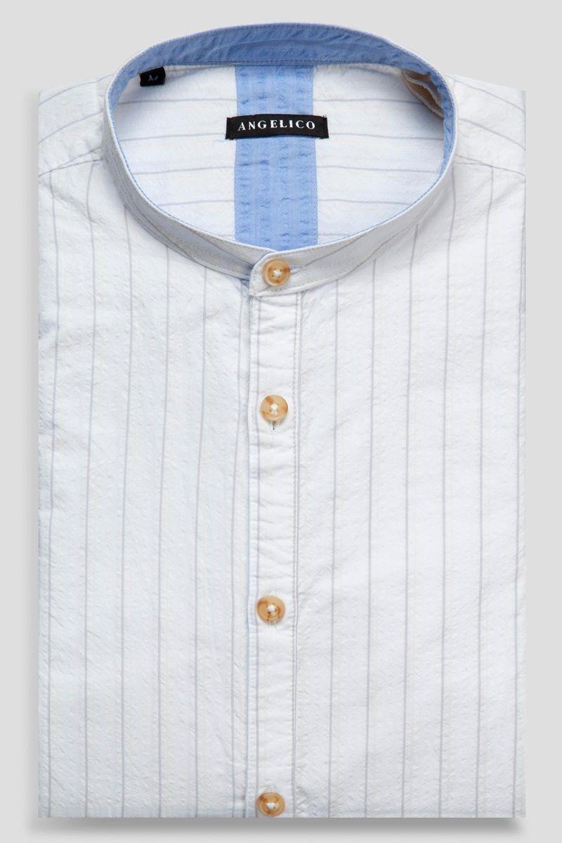 korean white shirt grey pinstripes Angelico