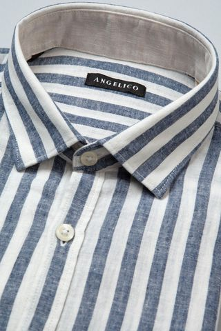camicia blu-bianca riga larga lino-cotone Angelico