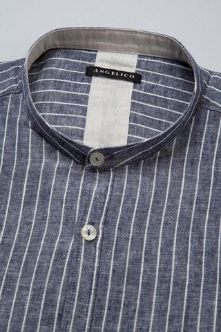 camicia blu coreana gessata bianca Angelico
