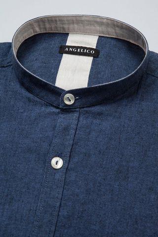 camicia blu coreana lino-cotone Angelico