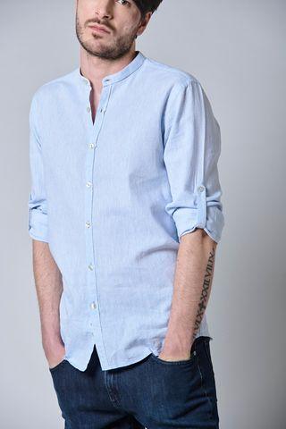 camicia azzurra coreana lino-cotone Angelico