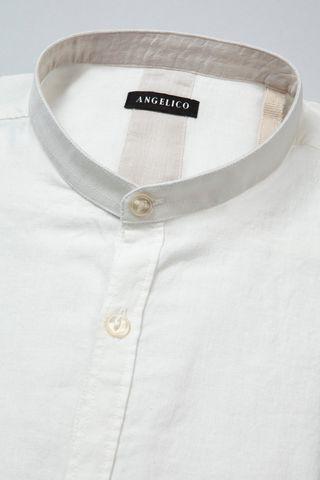 camicia bianca coreana lino-cotone Angelico