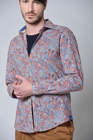 camicia fantasia blu-rossa fiori Angelico