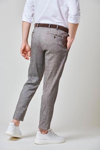 pantalone moro melange lino 1pinces slim Angelico
