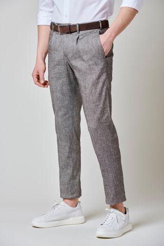 brown melange linen trousers 1pleat slim Angelico